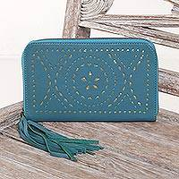 Leather wallet clutch,