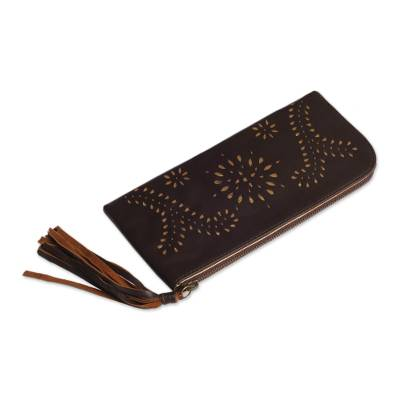 Wallet Clutch Hand Crafted from Dark Brown Leather