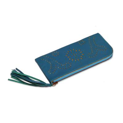 Cutout Design Leather Wallet Clutch in Cool Teal