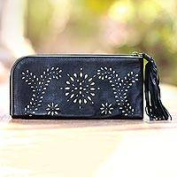 Leather wallet clutch, 'Prambanan Fireworks in Black' - Black and Gold Wallet Clutch Combo Handmade in Bali