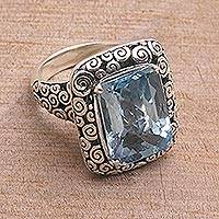 Blue topaz cocktail ring, 'Water Temple'