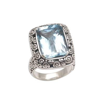 Blue topaz cocktail ring, 'Water Temple' - Eleven Carat Blue Topaz and Silver Cocktail Ring