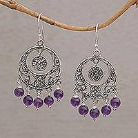 Amethyst chandelier earrings, 'Raining Victory' - Amethyst and Sterling Silver Chandelier Earrings from Bali
