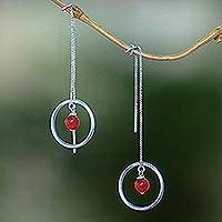 Carnelian threader earrings, 'Soulful Rings' - Carnelian and Sterling Silver Threader Earrings form Bali
