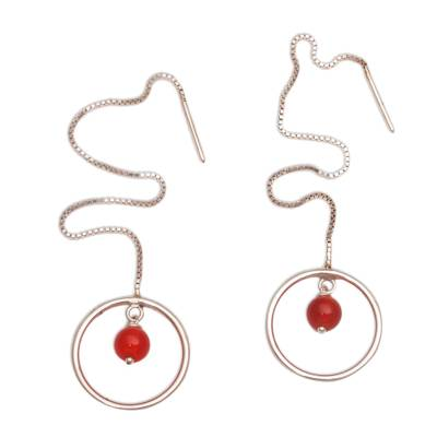 Carnelian and Sterling Silver Threader Earrings form Bali