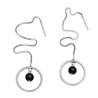 Onyx and Sterling Silver Threader Earrings from Bali