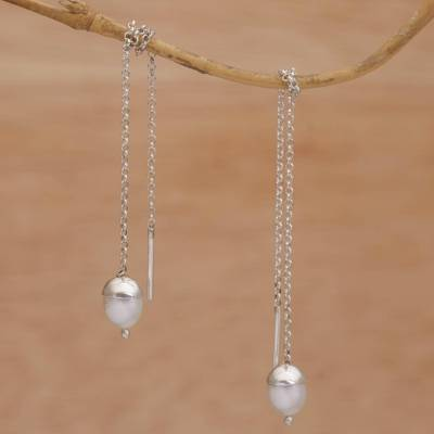 Cultured pearl threader earrings,'Glowing Stalks' - Cultured Pearl and Silver Threader Earrings from Bali