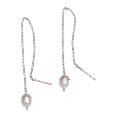 Cultured Pearl and Silver Threader Earrings from Bali