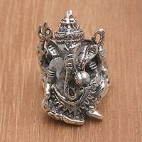 Sterling silver cocktail ring, 'Ganesha Guardian' - Sterling Silver Ganesha Cocktail Ring from Bali