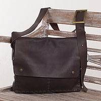 Leather messenger bag, 'Carja Strap' - Hand Crafted Balinese Leather Messenger Bag in Brown