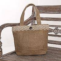 Jute tote bag, 'Malioboro Grove' - Natural Jute Tote Bag with Lace Trim and Coconut Shell