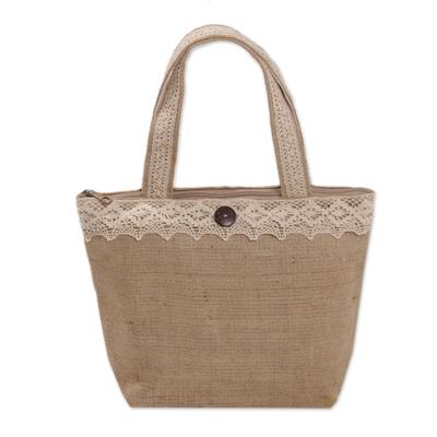 Cotton Lined Natural Jute Tote Shoulder Bag