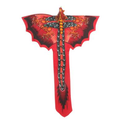 Nylon kite, 'Soaring Dragon' - Hand-Painted Red Dragon Kite from Bali