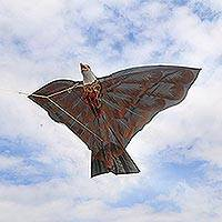Nylon kite, 'Soaring Hawk' - Hand-Painted Hawk Kite in Brown from Bali