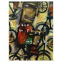 'I Want to Race My Bike' - Original Signed Expressionist Painting of a Bicycle Race