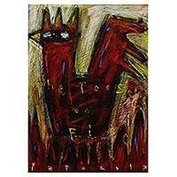 'The Rooster on Fire' - Chinese New Year Original Expressionist Rooster Painting