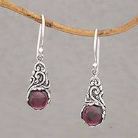 Garnet dangle earrings, 'Red Sprout' - Handmade 925 Sterling Silver Red Garnet Earrings Indonesia