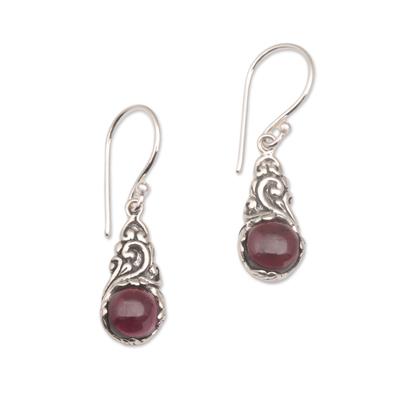 Garnet dangle earrings, 'Red Sprout' - Handmade 925 Sterling Silver Red Garnet Earrings Indonesia