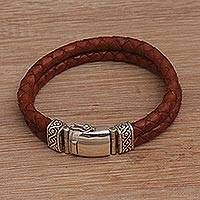Men's leather wristband bracelet, 'Soulful Braids in Brown' - Men's Brown Two-Strand Leather Wristband Bracelet from Bali