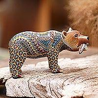 Polymer clay sculpture, 'Successful Grizzly' (6 inch) - Colorful Polymer Clay Bear Sculpture (6 Inch) from Bali