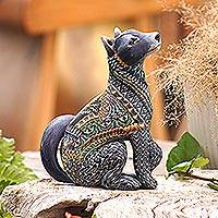 Polymer clay sculpture, 'Vibrant Wolf' - Handcrafted Polymer Clay Wolf Sculpture from Bali