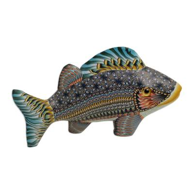 Handcrafted Polymer Clay Fish Sculpture (5.75 Inch)