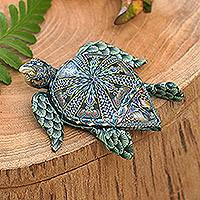 Polymer clay sculpture, 'Vibrant Sea Turtle' (small) - Polymer Clay Sea Turtle Sculpture (Small) from Bali