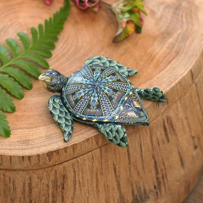 Polymer clay sculpture, 'Vibrant Sea Turtle' (2.6 inch) - Polymer Clay Sea Turtle Sculpture (2.6 inch) from Bali