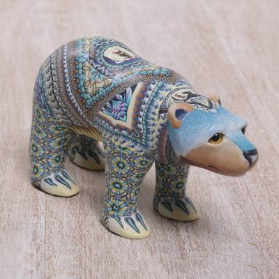 Polymer clay sculpture, 'Mother Polar Bear' - Handmade Polymer Clay Sculpture of a Polar Bear from Bali