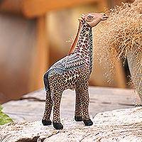 Polymer clay sculpture, 'Vibrant Giraffe' (small) - Handmade Polymer Clay Giraffe Sculpture (Small) from Bali