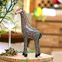 Polymer clay sculpture, 'Vibrant Giraffe' (large) - Handmade Polymer Clay Giraffe Sculpture (Large) from Bali