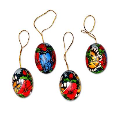 Wood ornaments, 'Monarch Eden' (set of 4) - Hand-Painted Ornaments of Butterflies from Bali (Set of 4)