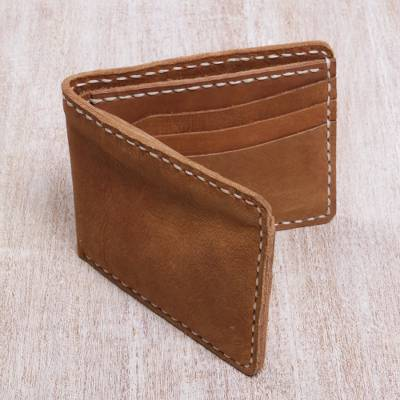 Men's leather wallet, 'Natural Balance' - Classic Light Brown Men's Leather Bifold Wallet