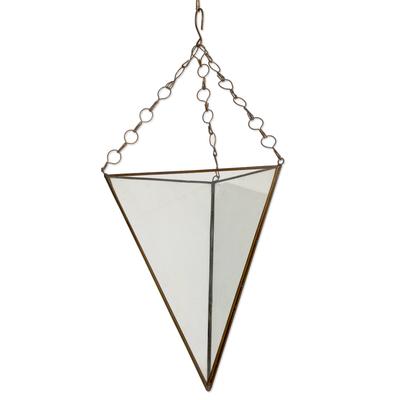 Glass and brass hanging terrarium, 'Eden Pyramid' (18 inch) - Glass and Brass 18 Inch Hanging Terrarium from Java
