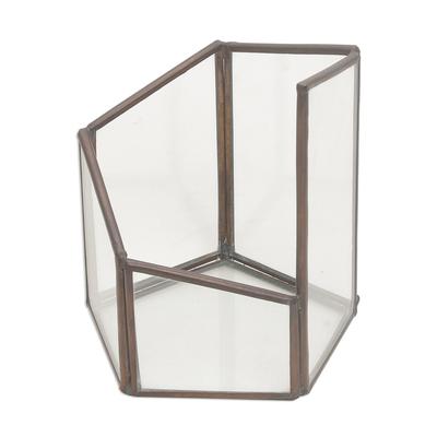 Glass and brass terrarium, 'Pentagonal Illusion' - Handmade Javanese Glass and Brass Pentagonal Plant Terrarium