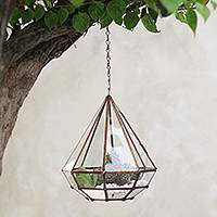 Glass and brass hanging terrarium, 'Taman Keraton' - Handmade Javanese Glass and Brass Hanging Plant Terrarium
