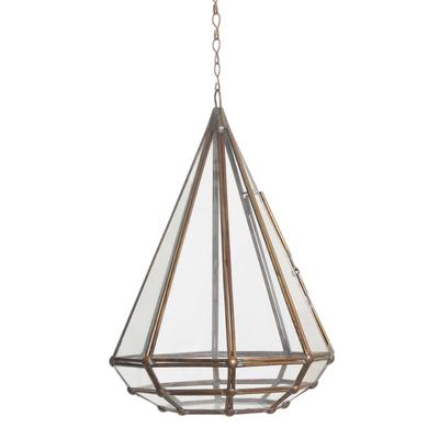 Glass and brass hanging terrarium, 'Taman Keraton' - Handmade Javanese Glass and Brass Hanging Plant Terrarium