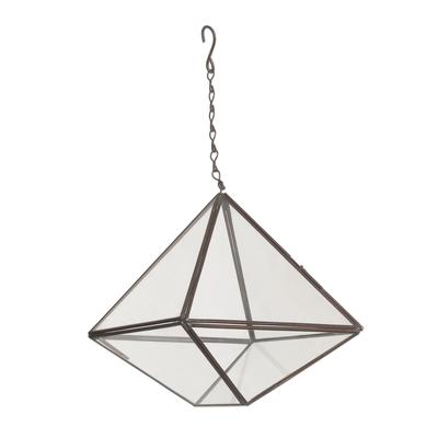 Glass hanging terrarium, 'Sky Garden' - Artisan Handmade Geometric Glass Hanging Terrarium Indonesia