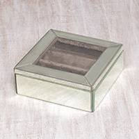 Glass jewelry box, 'Reflected Keeper' - Handmade Glass and Felt Jewelry Box from Java