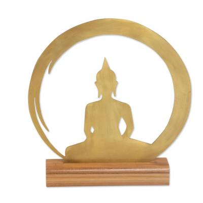Brass and Teak Wood Silhouette Sculpture of Buddha