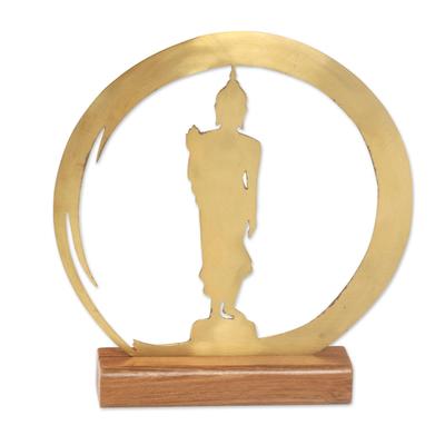 Handmade Brass and Wood Sculpture of Buddha