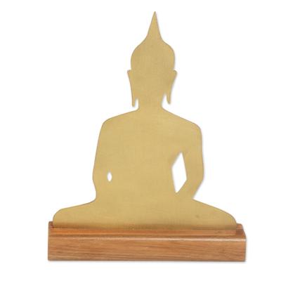 Brass Meditating Buddha Sculpture on Wood Base