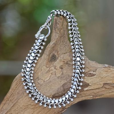 Sterling silver link bracelet, 'Centipede Crawl' - Sterling Silver Link Bracelet
