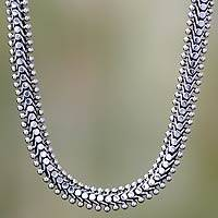 Sterling silver chain necklace, 'Centipede Crawl' - Handmade Sterling Silver Chain Necklace