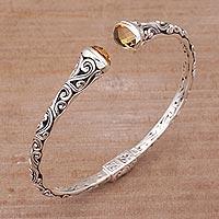 Citrine cuff bracelet, 'Eden Vines' - Citrine and Sterling Silver Cuff Bracelet from Bali