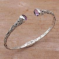 Amethyst cuff bracelet, 'Eden Vines' - Amethyst and Sterling Silver Cuff Bracelet from Bali