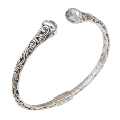 Blue topaz cuff bracelet, 'Eden Vines' - Blue Topaz and Sterling Silver Cuff Bracelet from Bali