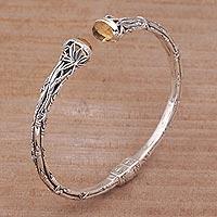 Citrine cuff bracelet, 'Bedugul Bamboo' - Sterling and Citrine Silver Bamboo Cuff Bracelet from Bali