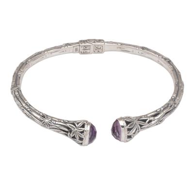 Amethyst cuff bracelet, 'Bedugul Bamboo' - Bali Sterling Silver Bamboo Cuff Bracelet with Amethysts
