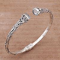 Blue topaz cuff bracelet, 'Bedugul Bamboo' - Bali Sterling Silver Bamboo Cuff Bracelet with Blue Topaz